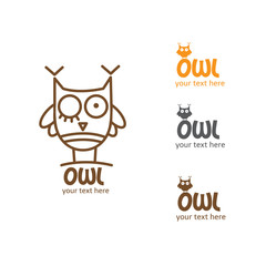 Vector owl logo. Four options of  logo.