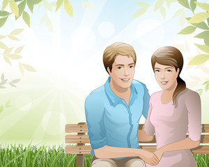young couple / relaxing in nature