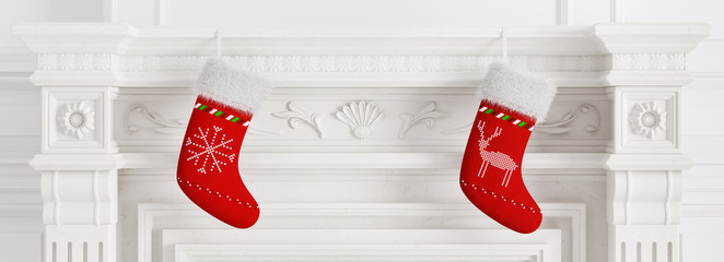 Two red christmas stockings 3d rendering