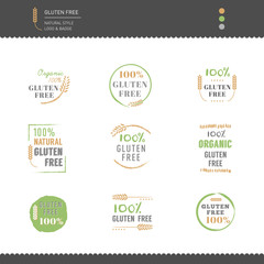 Collection of Gluten Free Icon vector design Natural style