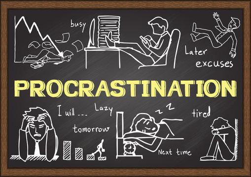 Doodles about procrastination on chalkboard.