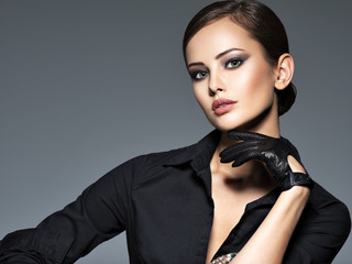 Woman makeup face fashion beautiful portrait  hairstyle slicked