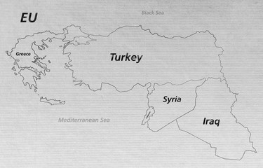 Overview Crisis Map - Turkey Syria Iraq Lebanon Greece EU V2