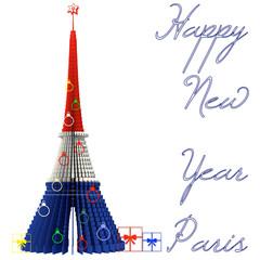 Happy New Year Paris Torre Eiffel albero Natale