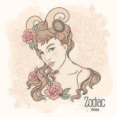 Zodiac. Vector illustration of Aries as girl with flowers.