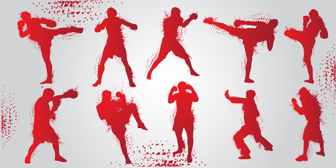 Set of Fighting Sport Pose Men People Silhouettes.