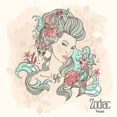 Zodiac. Vector illustration of Pisces as girl with flowers.