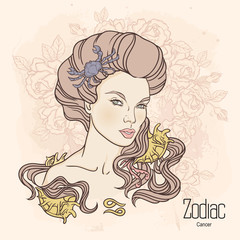 Zodiac. Vector illustration of Cancer as girl with flowers.