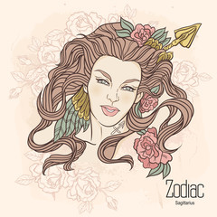 Zodiac. Vector illustration of Sagittarius as girl with flowers.