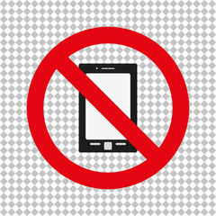 Sign of the ban for a mobile phone on a plaid background