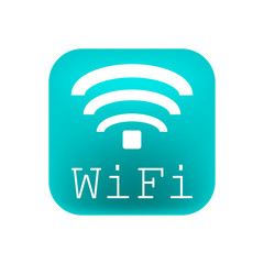 WiFi logo on a turquoise square on a white background