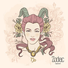 Zodiac. Vector illustration of Capricorn as girl with flowers.