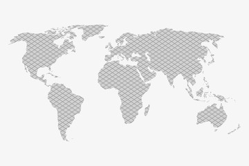 World map in a gray plaid background on a white