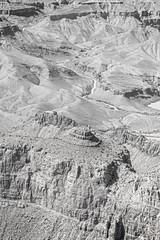 Black and white photo of rock formations in Grand Canyon.