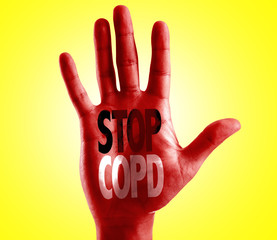 Stop COPD written on hand with yellow background