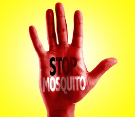 Stop Mosquito written on hand with yellow background