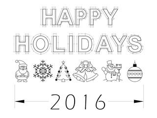 Holidays 2016 blueprint - isolated