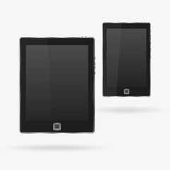 Black tablet and smartphone in a realistic style on a white background