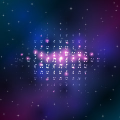 Music notes in space background with shiny stars