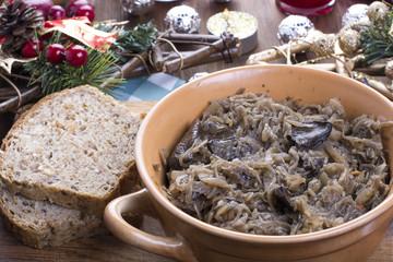 Traditional polish sauerkraut with mushrooms