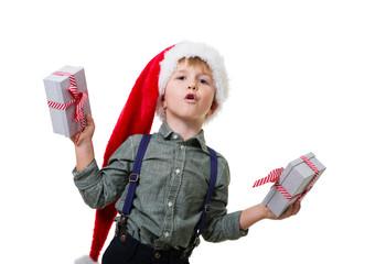 Junge mit Geschenken Weihnachtsmann