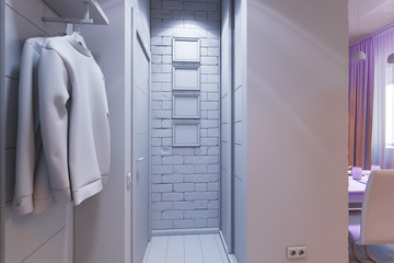 3D illustration of the one-room apartment. Visualization without shaders and textures, with art lighting