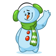 Christmas snowman with striped green scarf isolated on white background. Vector illustration