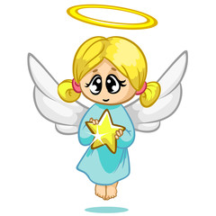 Vector illustration cute Christmas flying angel character