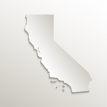 California map card paper 3D natural vector