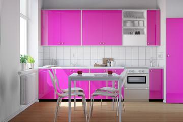Küche mit Küchenzeile in pink