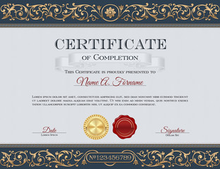 Vintage Certificate of Completion. Royal Dark Blue and Gold Ornaments