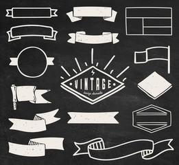 Set of chalk hipster vintage retro labels and log