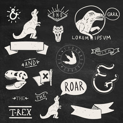 Collection of Tyrannosaurus Rex design elements and labels