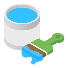 Paint and paint brush isometric 3d icon