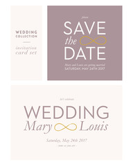 Wedding and Save the Date card. Vector design.