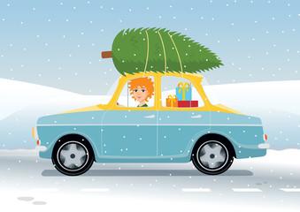 redhead girl driving Christmas