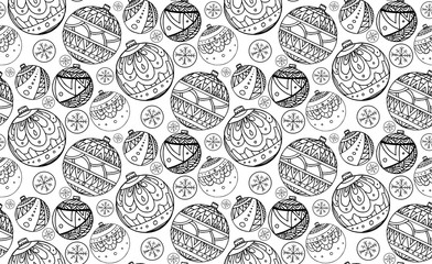 Seamless texture with black and white Christmas balls