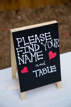Wedding Table Sign at Reception