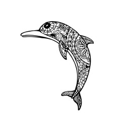Vector of Dolphin in zentangle style