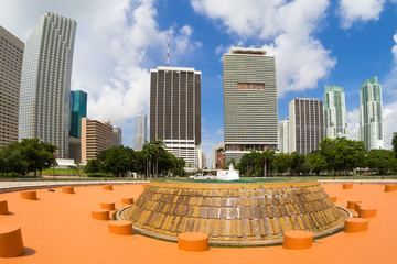 Wall Mural - Bicentennial park in Miami with a view of the city skyline