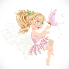 Sweet girl fairy in a pink tutu holding a large butterfly on the finger isolated on a white background