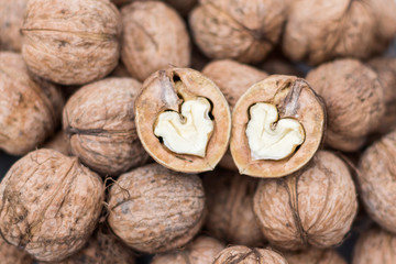 Two walnuts hearts