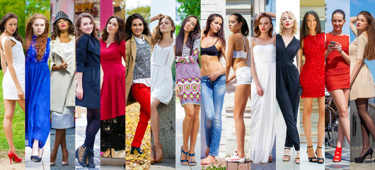 Fashion collage. Group of beautiful young women.