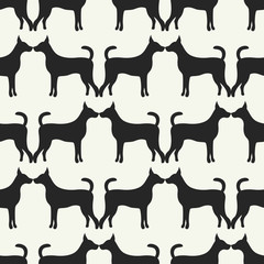 Animal seamless pattern of dog silhouettes