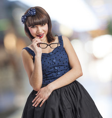 beautiful young woman wearing like a pin up