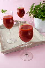 Tomato juice in a tall glass