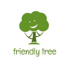 Illustration of funny eco tree. vector