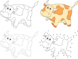 Cartoon cow. Vector illustration. Dot to dot game for kids
