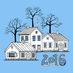 Beautiful Houses set with trees vector seamless pattern.