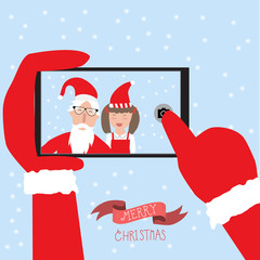 Hipster santa claus and little girl selfie with smartphone for m